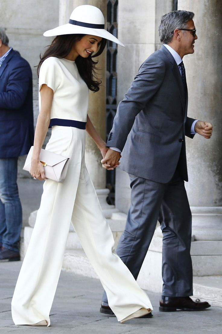 Heading out with George Clooney for the civil ceremony of their wedding in Venice. Getty Images  - TownandCountryMag.com