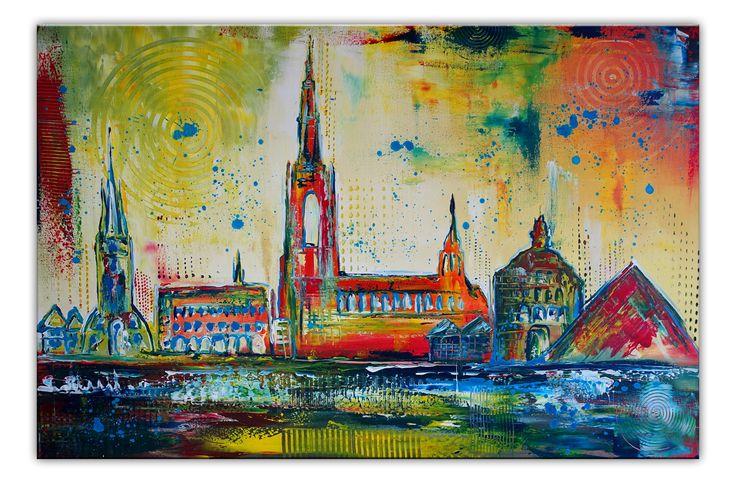 Ulm Stadtbild abstrakt 80x120 gemalt Skyline Münster buntes Gemälde Bild querformat