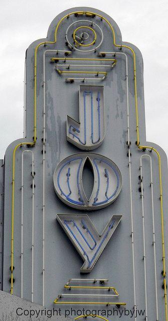 Vintage Art Deco Neon Sign- Joy Movie Theater, Kings Mountain, North Carolina