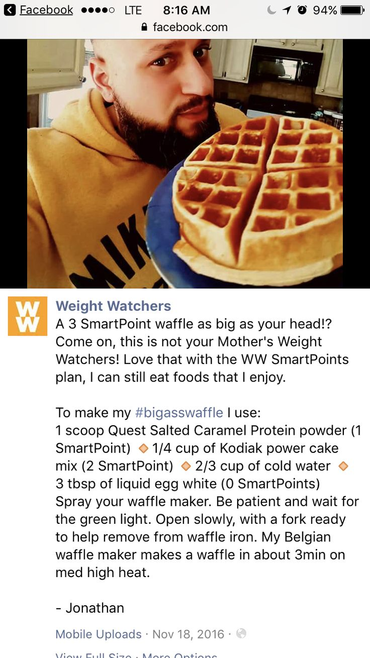 Weight Watchers BAW - 3 smart points waffle. This is the best protein waffle that I have tasted so far. So good. And it makes a large serving.