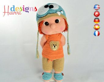 ◆❤ Welcome to Havva Designs Patterns Store ❤◆  ❥ This listing is for an amigurumi pattern, not the finished toy. ❥ Crochet pattern in pdf format, and emailed to you within 24 hours of your payment! ❥ Please add your email address your order when you purchase a product. ❥ This pattern is available in English, Deutsch, Français, Spanish and Turkish Languages. ❥ The country flags added to corners of pictures to show the patterns in which languages is written. ❥ The finished approximately 32 cm…