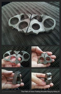 COLLECTIBLES: Path of Orion: Folding Brass Knuckle Mech Ring by Kilroy III of Kilroy's Attic - THE ETHYR - Carbon-Fibre Media