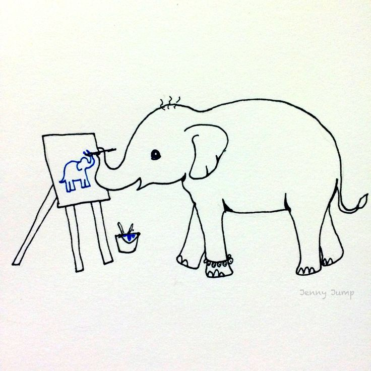 Baby elephant painting an elephant, comic, pen on paper, Jenny Jump, 2017, World Elephant Day 2017