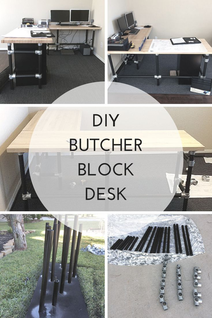 DIY Butcher Block Desk.  Build an L shaped desk with pipe, fittings and some wood tops.  This easy to build desk can be built to fit your needs. #pipedesk