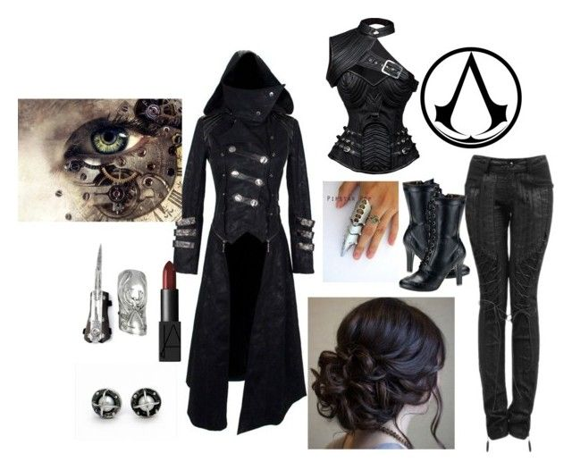 """Steampunk Assassin"" by professional-kpopper ❤ liked on Polyvore featuring Demonia, NARS Cosmetics, Punk, steampunk, AssassinsCreed and steam"