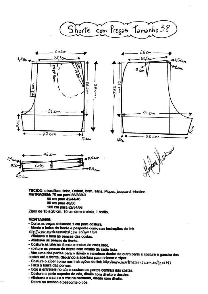 Esquema de molde e montagem de short tamanho 38. | Danny | Pinterest ...