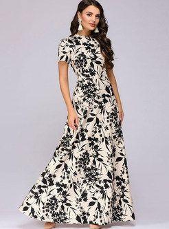 2065d6e6b95fcb Elegant O-neck Short Sleeve Print Maxi Dress in 2019 | Fashion ...
