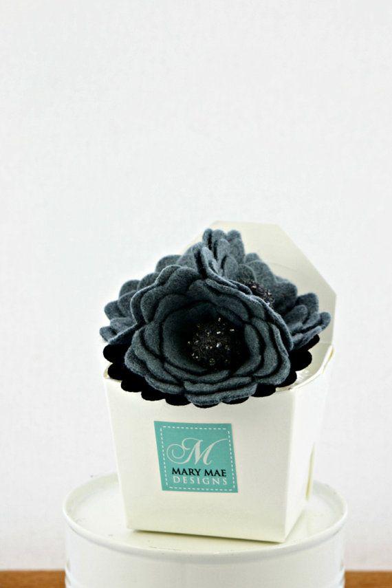 Felt flower brooch - smokey grey