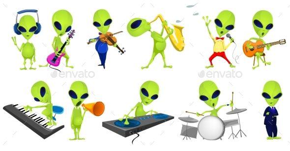 Set of Green Aliens Music Illustrations