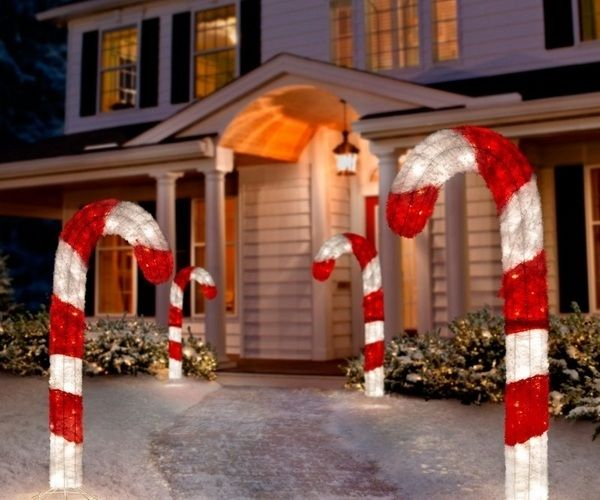 Fabulous Christmas Yard Decorations Candy Cane Lights Front
