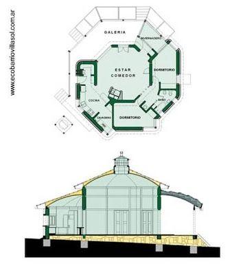 Planos arquitectónicos de planta y corte de una cabaña ecológica en la eco-villa