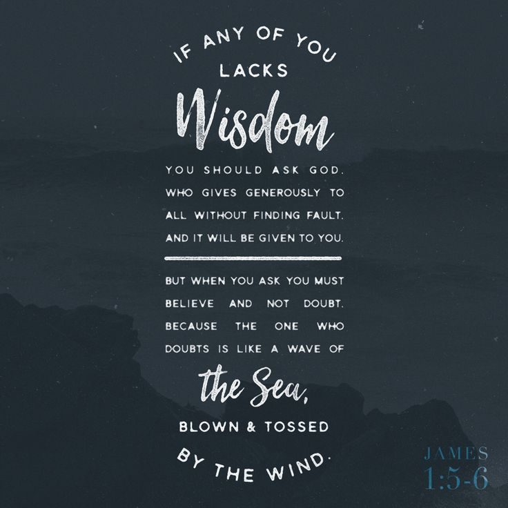 """""""But if anyone is deficient in wisdom, he should ask God, who gives to all generously and without reprimand, and it will be given to him. But he must ask in faith without doubting, for the one who doubts is like a wave of the sea, blown and tossed around by the wind."""" James 1:5-6 NET http://bible.com/107/jas.1.5-6.net"""