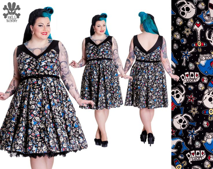 Rock On Dress by Hell Bunny.  Sizes 2x-4x available at www.sweetechoplus.com   Alternative print dress with a classic 50's inspired cut is perfect for the those who love vintage with a little edge.