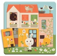 Discover the bunny rabbit's home with this very cute wooden three layer puzzle from Djeco. The Rabbit Cottage Layer Puzzle peels away to reveal a new scene that needs piecing together.