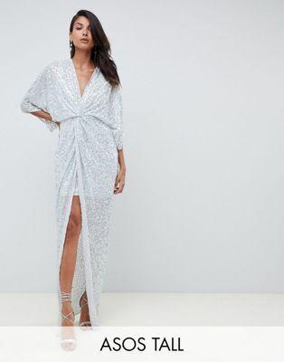 c77dca97b Vestido largo estilo kimono con nudo en la parte delantera y ...
