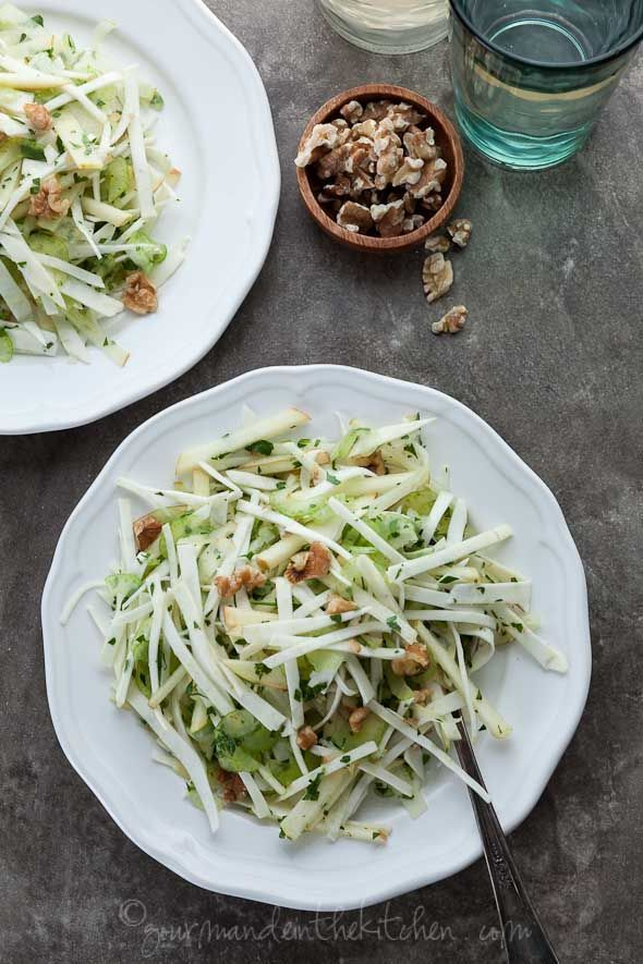 A cool and crisp salad featuring crunchy thin slices of celery root, celery and apples in a lemon-mustard vinaigrette.