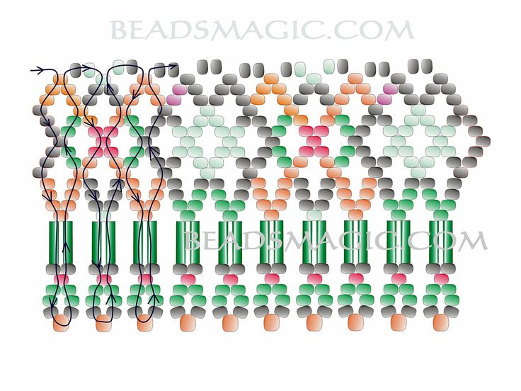 Free pattern for necklace Ivanka - 2----u need Seed beads 11/0, Seed beads, 8/0, Bugles.