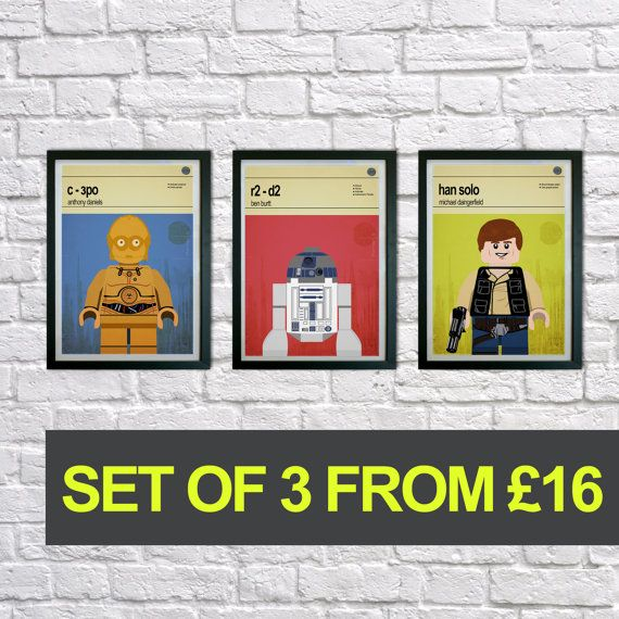 This is a stylish set of poster prints of the Lego Star Wars characters, fit to grace any man cave or childrens bedroom. Hand drawn with a graphics tablet and pen these prints are styled with typography and feature the actors who voiced the Lego Star Wars characters in the Lego game and the Lego Star Wars abilities.   You can either purchase this artwork as prints or framed and ready to hang on the wall. To purchase these framed please see our other item on the link below:  https:/&#x2F...