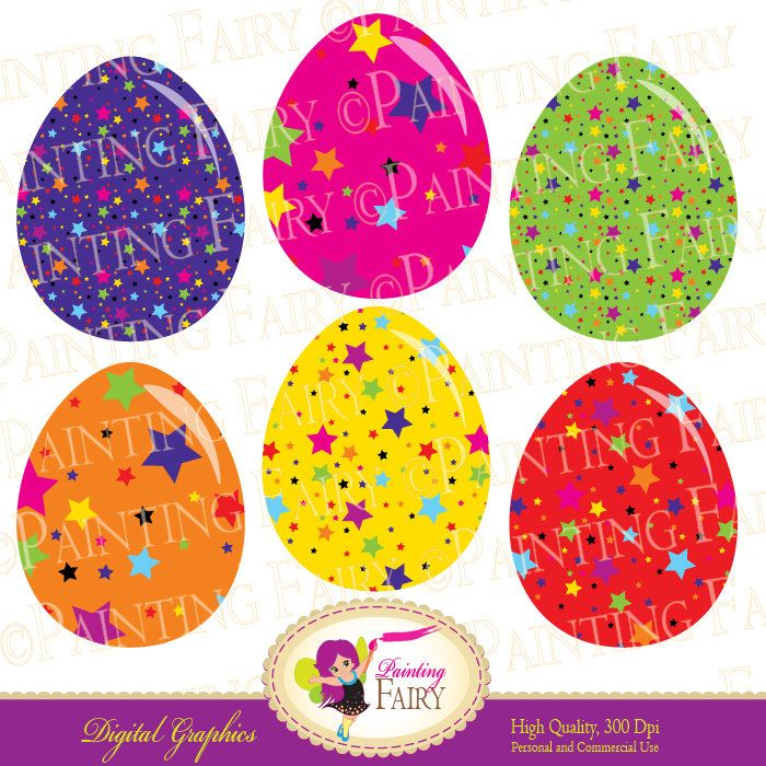 Rainbow Easter Egg Colorful digital clipart set Fun party images Buy 2 get 1 Free cliparts Craft supplies Personal Commercial Use pf00001-4a by PaintingFairyClipart on Etsy