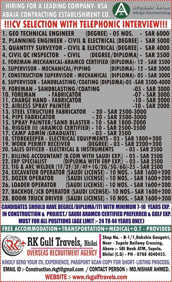 URGENTLY REQUIRED FOR ABAJA CONTRACTING ESTABLISHMENT