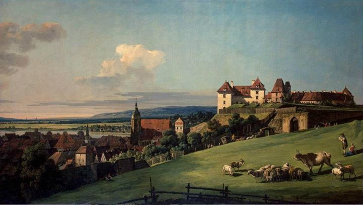 Bernardo Bellotto, il Canaletto - View of Pirna from the Sonnenstein Castle 1750 Hermitage Museum