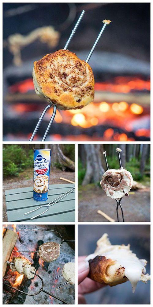 Campfire Toasted Cinnamon Rolls - It's amazing what a can of cinnamon rolls toasted over a campfire can taste like!