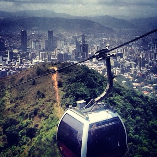 Caracas -- a view from the teleferico on the way up to the Humbolt Hotel at the top of the mountain. We rode in the front seat, all glass in front of us, Mom's eyes closed the entire time!