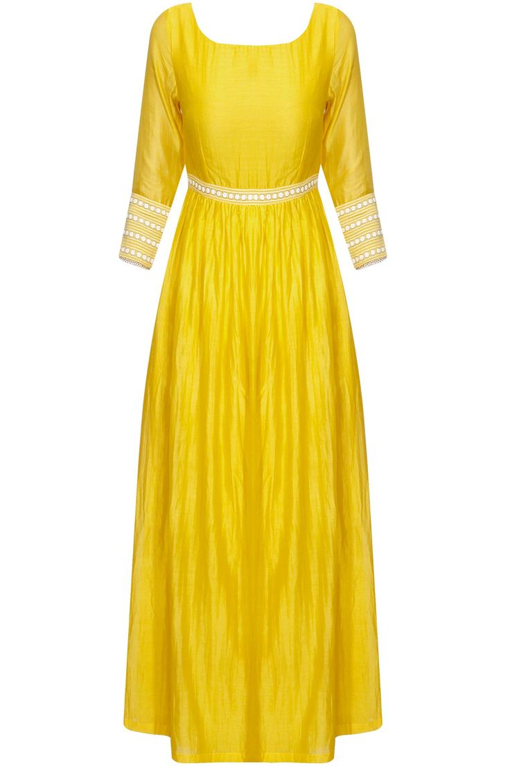 Yellow dots embroidered anarkali suit available only at Pernia's Pop Up Shop.