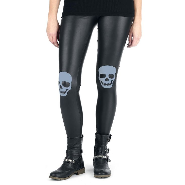 "Full Volume by EMP Leggings, Frauen ""Skull Knee Leatherlook Leggings"" schwarz • EMP"