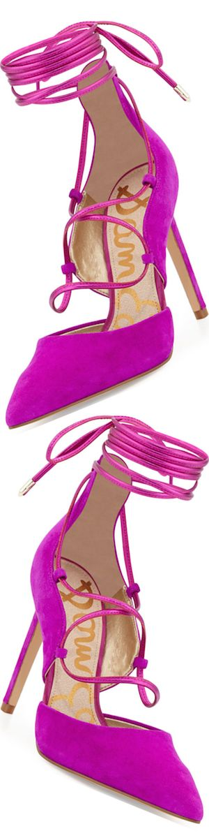 Sam Edelman Dayna Suede Lace-Up Pump, Fuchsia