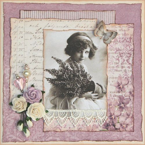 I like the idea of layering different papers in this way - scrapbook layout inspiration...love the flower and butterfly embellishments, and lace as well. Would be nicely suited to the 12 x 12 wall frames I have too.