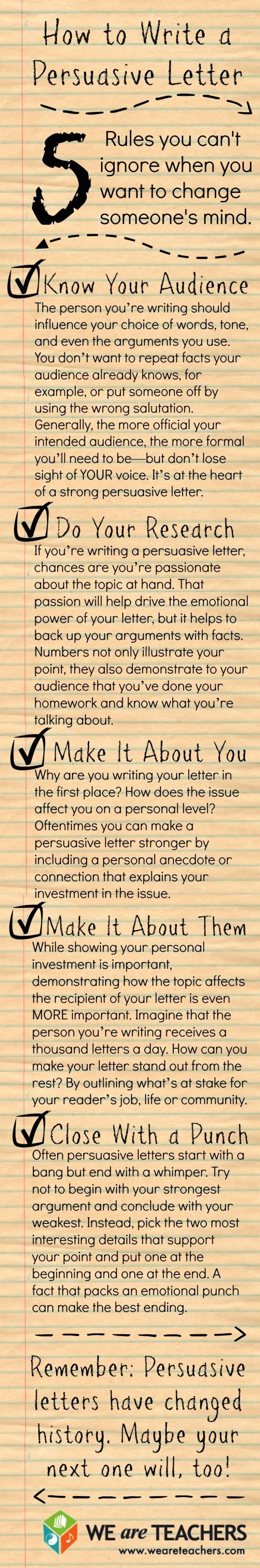 """""""Persuasive Writing: 5 Tips for Students"""" by WeareTeachers. This is a good resource for students tasked with persuasive writing."""