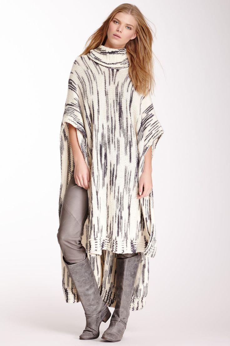 Turtleneck Wool Poncho