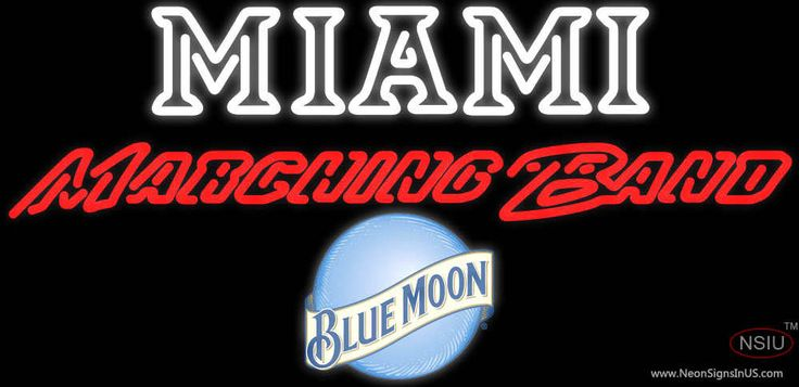 Blue Moon Miami UNIVERSITY Band Board Real Neon Glass Tube Neon Sign,Affordable and durable,Made in USA,if you want to get it ,please click the visit button or go to my website,you can get everything neon from us. based in CA USA, free shipping and 1 year warranty , 24/7 service