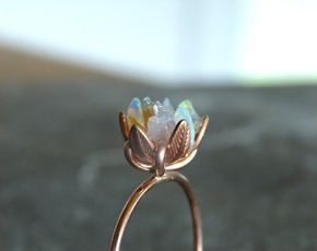 Unique Opal Ring, Lotus Flower Ring in Rose Gold, Uncut Opal Engagement Ring, Ra…