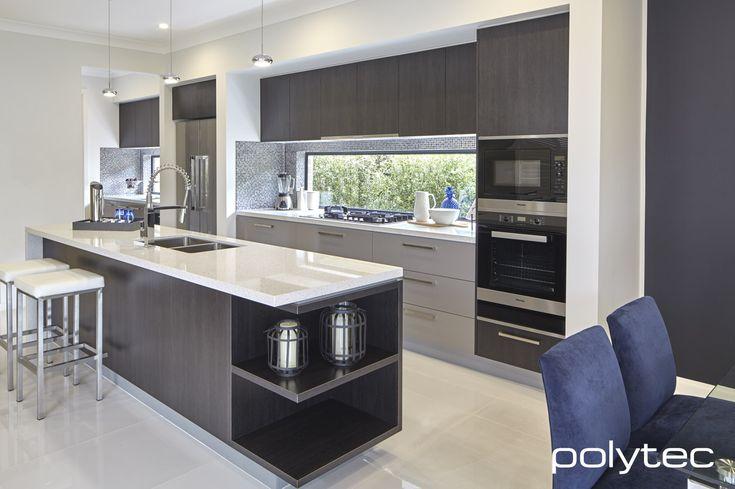 Polytec melamine black wenge matt and marina grey sheen for Acrylic kitchen cabinets prices
