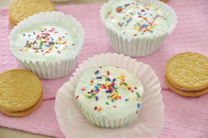 No Bake Birthday Cake Ice Cream Cups!  A fun alternative to birthday cake :)