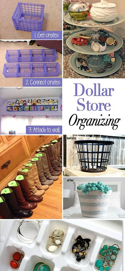 Dollar Store Organizing Ideas • Lot's of great tips and ideas on how to save money while organizing all your stuff!