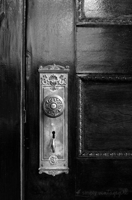Old home. Vintage doorknob. Black & white.