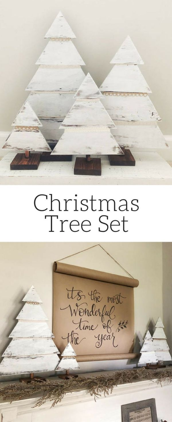Wood Christmas Tree Set, Rustic Trees, Farmhouse Christmas Decor, Christmas Porc…