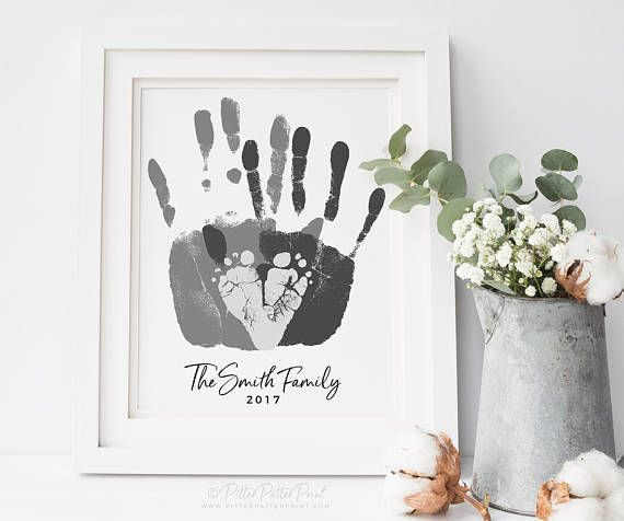 Personalized Family Portrait, Handprint & Footprint Family Art, Gift for New Dad, First Father's Day, Your Child's Feet, 8×10 in UNFRAMED