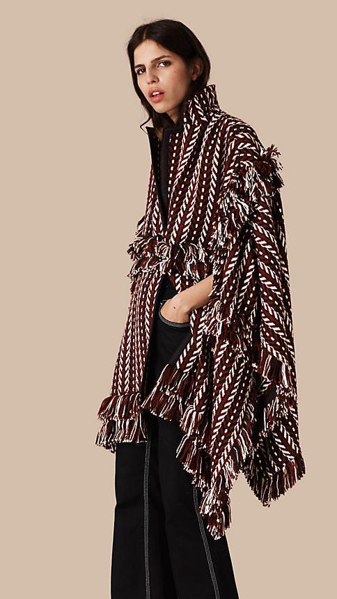 Russet brown Casaco estilo capa de lã e seda com detalhe de franjas - Imagem 1