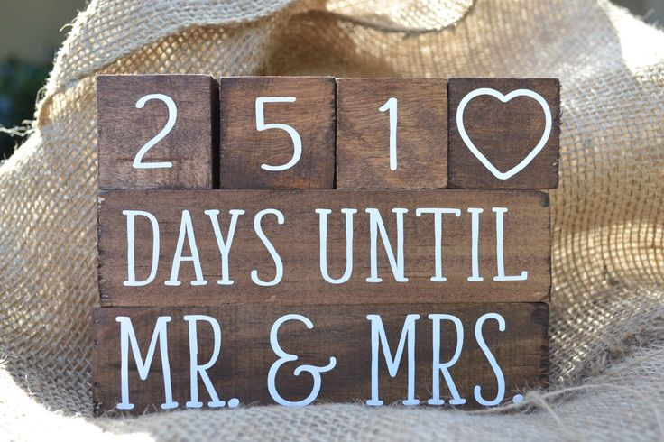Wedding Day Countdown Blocks - Wood Stained Countdown Blocks by ThePerfectlyPeared on Etsy https://www.etsy.com/listing/288156477/wedding-day-countdown-blocks-wood