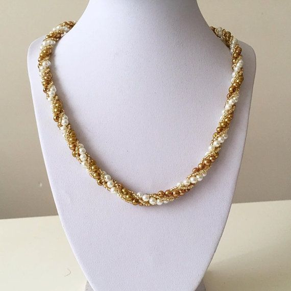 Golden Pearl Necklace Multiple use Pearl Beaded Necklace