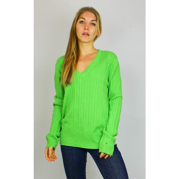 Re:dream Vintage Vintage Tommy Hilfiger Logo Sleeve Knit Jumper ($39) ❤ liked on Polyvore featuring tops, sweaters, green, long sleeve v neck sweater, vintage sweaters, green v neck sweater, long sleeve tops and long sleeve jumper