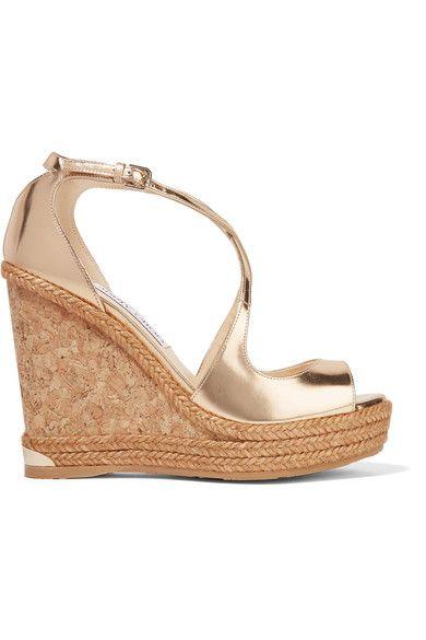 Jimmy Choo - Dakota Metallic Leather Wedge Sandals - Gold - IT35.5