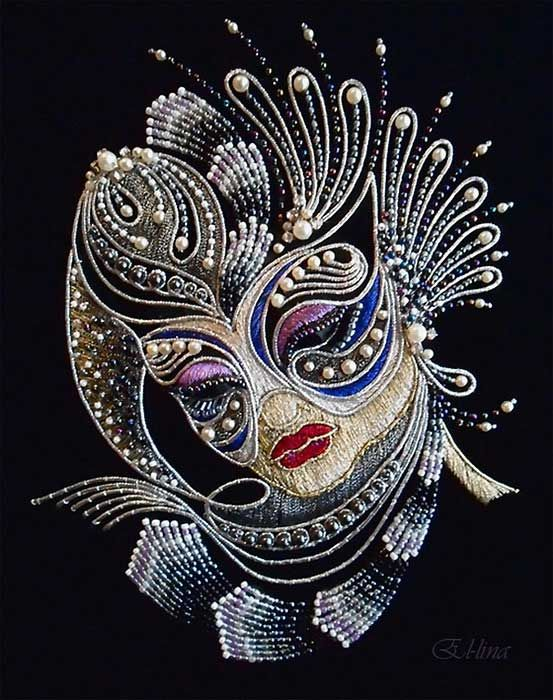 Gorgeous metal thread and bead embroidery by Russian embroiderer, Elena Emelina. More examples here: http://www.needlenthread.com/2013/02/ingenious-use-of-pearl-purl.html