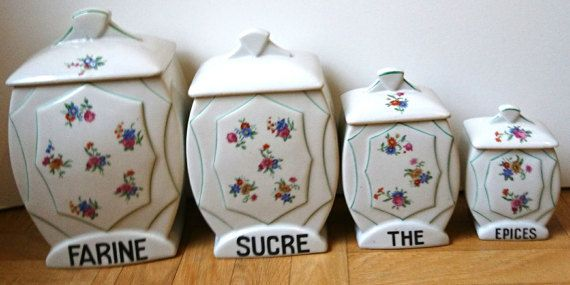 Vintage Porcelain Canisters Art Deco Tea and by reveriefrance