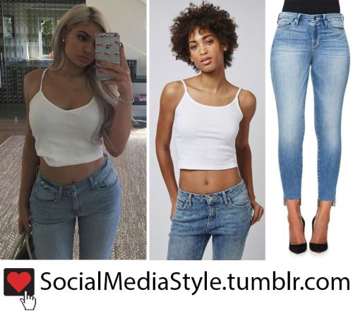 Buy Kylie Jenner's White Topshop Crop Top and Good American Jeans, here!