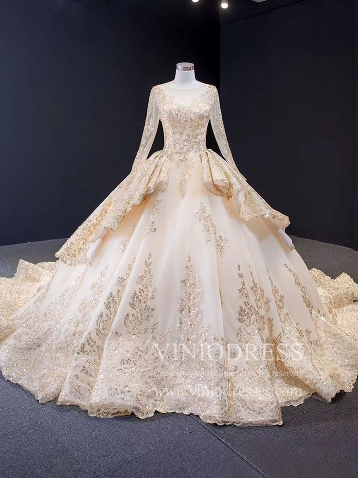 Retro Ornate Sparkly Gold Debut Ball Gown Prom Dresses with Long Sleeves FD1741 | Ball gowns. Ball gowns prom. Ball dresses